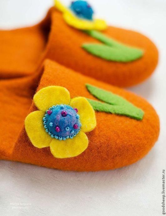"""Обувь ручной работы. Ярмарка Мастеров - ручная работа. Купить Тапки детские """"Оранжевое настроение"""". Handmade. Оранжевый, обувь для девочки"""