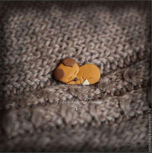 Броши ручной работы. Ярмарка Мастеров - ручная работа. Купить Спящий лисёнок. Брошка-крошка. Handmade. Рыжий, спящий