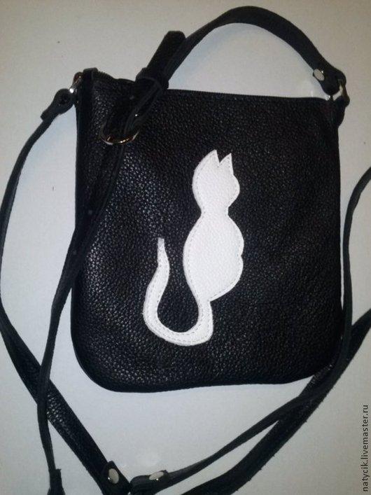 Женские сумки ручной работы. Ярмарка Мастеров - ручная работа. Купить сумочка задумчивая кошка. Handmade. Черный, кожа натуральная