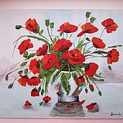 Картины и панно ручной работы. Ярмарка Мастеров - ручная работа картина маки в вазе, акрил, 30х40. Handmade.