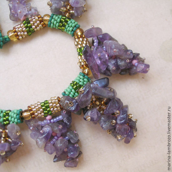 Lilac necklace and earrings of amethyst and beads, Jewelry Sets, Moscow,  Фото №1