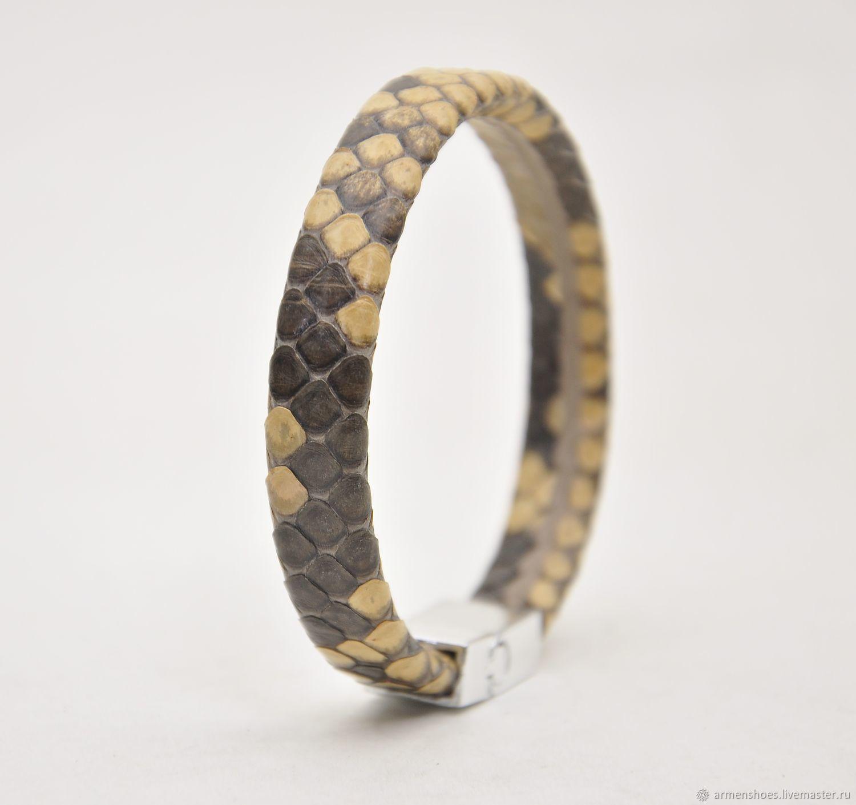 Bracelet women's Python leather, beige color, Hard bracelet, Tosno,  Фото №1