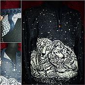 Одежда handmade. Livemaster - original item Knitted from 100% linen Italy,.Polo jumper with zipper