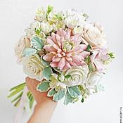Свадебный салон ручной работы. Ярмарка Мастеров - ручная работа Букет невесты в персиково-розовых оттенках из полимерной глины. Handmade.