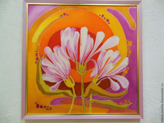 Картины цветов ручной работы. Ярмарка Мастеров - ручная работа. Купить Картина, батик  Цветы под солнцем. Handmade. Оранжевый