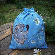 Для дома и интерьера handmade. Livemaster - original item hedgehog in Romashkovo field... Cotton bag painted.. Handmade.