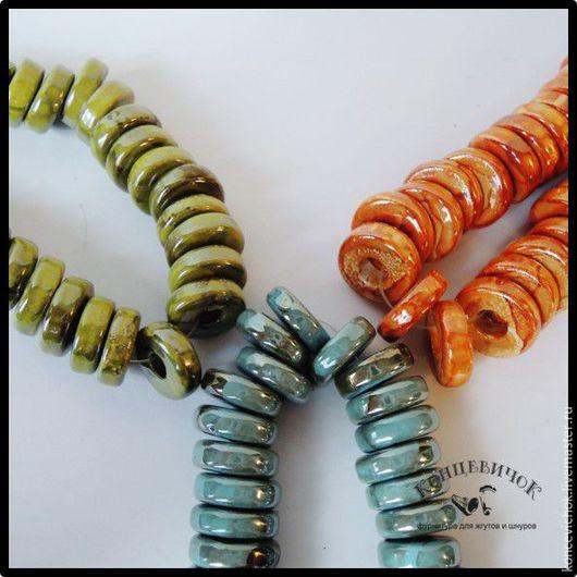 Для украшений ручной работы. Ярмарка Мастеров - ручная работа. Купить Керамика 5 мм блинчики Греция. Handmade. Комбинированный