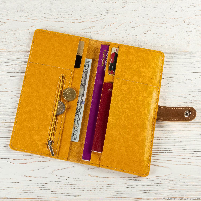 Органайзеры для сумок ручной работы. Ярмарка Мастеров - ручная работа. Купить Холдер для путешествий кожаный желтый. Handmade. Желтый