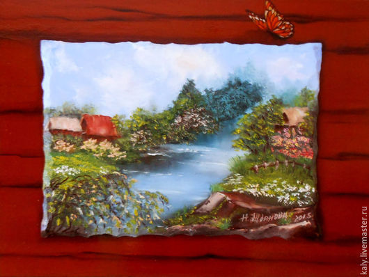 Картина пейзаж маслом Лето в деревне