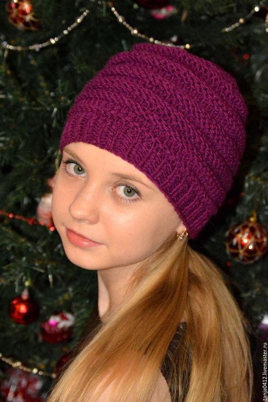 Шапки ручной работы. Ярмарка Мастеров - ручная работа. Купить Вязаная шапка Бордо (шапка бордовая, женская шапка, зимняя шапка). Handmade.