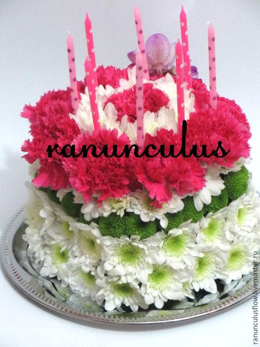 Букеты ручной работы. Ярмарка Мастеров - ручная работа. Купить Торт из цветов. Handmade. Комбинированный, праздничный торт