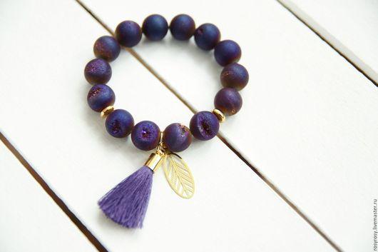 Браслеты ручной работы. Ярмарка Мастеров - ручная работа. Купить Браслет Агат браслет из натуральных камней Blueberry Nights. Handmade.