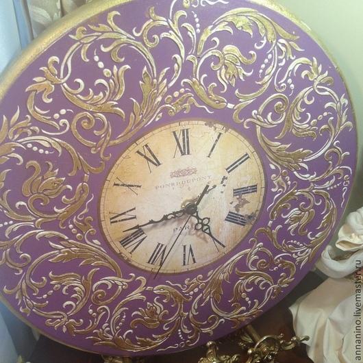 Часы для дома ручной работы. Ярмарка Мастеров - ручная работа. Купить Настенные часы Вальс Сирень. Handmade. Сиреневый, мдф