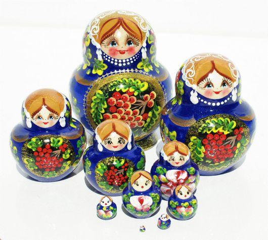 Матрешки ручной работы. Ярмарка Мастеров - ручная работа. Купить Синяя русская матрешка рябина, традиционный стиль, 10 мест. Handmade.