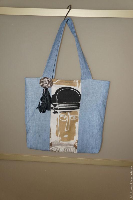 Женские сумки ручной работы. Ярмарка Мастеров - ручная работа. Купить Сумка джинсовая голубая шляпка. Handmade. Голубой
