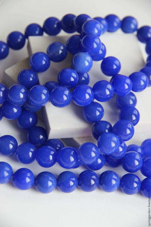Для украшений ручной работы. Ярмарка Мастеров - ручная работа. Купить Синий агат  бусины МИРОЗДАНИЕ  природный 12 мм. Handmade.