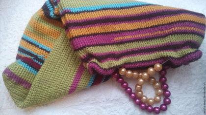 Женские сумки ручной работы. Ярмарка Мастеров - ручная работа. Купить Сумка-шоппер вязаная. Handmade. Оранжевый, коричневый, сумка
