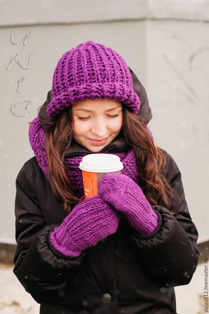 Вязанные шарфы и шапки своими руками