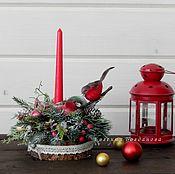 Цветы и флористика handmade. Livemaster - original item Christmas composition with a candle.Candle Holder Christmas.. Handmade.
