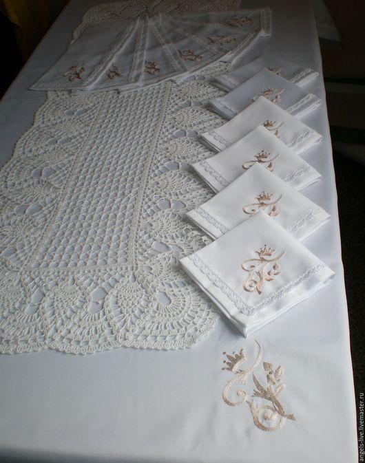 Текстиль, ковры ручной работы. Ярмарка Мастеров - ручная работа. Купить Набор скатертей и салфеток с вышивкой. Handmade. Белый