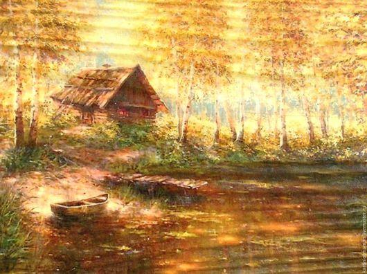 Пейзаж ручной работы. Ярмарка Мастеров - ручная работа. Купить Золотая осень.. Handmade. Золотой, пейзаж с водой, картина