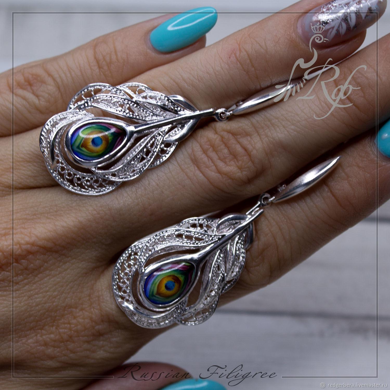 Earrings 'Feather' finift, silver 999 sample, Earrings, Kostroma,  Фото №1