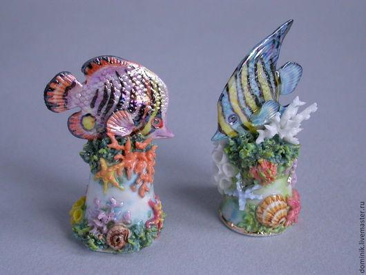 Миниатюрные модели ручной работы. Ярмарка Мастеров - ручная работа. Купить Напёрсток с коралловой рыбкой. Handmade. Разноцветный, коралловая рыбка