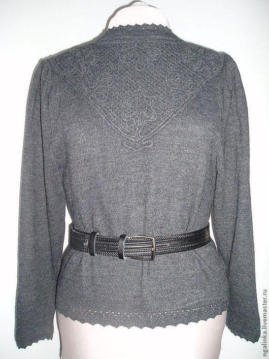 Кофты и свитера ручной работы. Ярмарка Мастеров - ручная работа. Купить блуза из шерсти Зимнее кружево. Handmade. Темно-серый