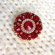 Украшения handmade. Livemaster - original item red beaded brooch and swarovski crystals. Handmade.