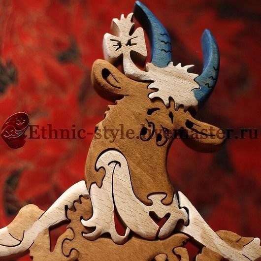 Статуэтки ручной работы. Ярмарка Мастеров - ручная работа. Купить Коза - Дереза (статуэтка-пазл). Handmade. Статуэтка из дерева