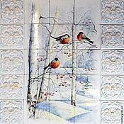 Для дома и интерьера handmade. Livemaster - original item Ceramic panels Snegiri. Handmade.