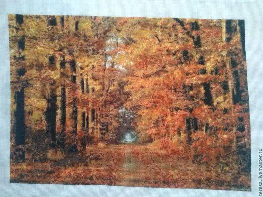 Пейзаж ручной работы. Ярмарка Мастеров - ручная работа. Купить Вышивка крестиком. Золотая осень.. Handmade. Оранжевый, пейзаж для декупажа