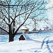 Картины и панно ручной работы. Ярмарка Мастеров - ручная работа Морозный день (в багете). Handmade.