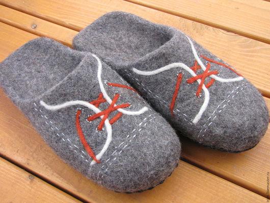 """Обувь ручной работы. Ярмарка Мастеров - ручная работа. Купить Тапочки валяные мужские """"Полукеды"""". Handmade. Серый, тапочки мужские"""