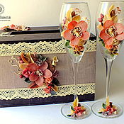 """Свадебный салон ручной работы. Ярмарка Мастеров - ручная работа Комплект """"Пудровые орхидеи"""". Handmade."""