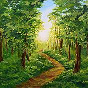 """Картины ручной работы. Ярмарка Мастеров - ручная работа Картина маслом """"В солнечных лучах"""" картина с лесом лес. Handmade."""