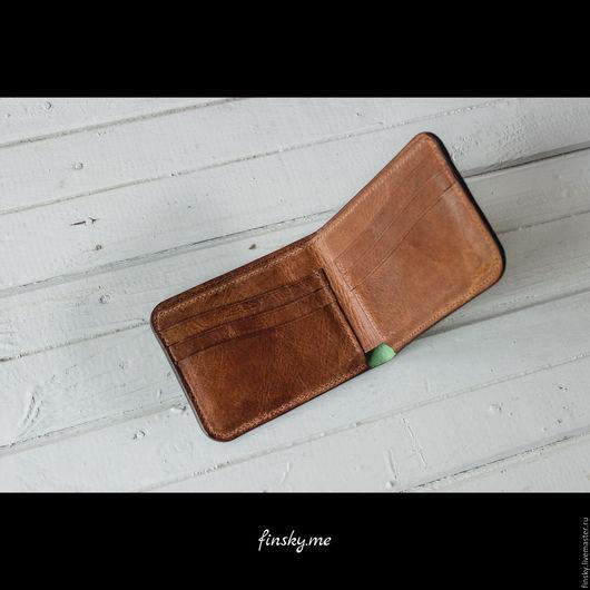 Кошельки и визитницы ручной работы. Ярмарка Мастеров - ручная работа. Купить Кожаный кошелек - подарок мужчине - зеленый кошелек - подарок женщине. Handmade.