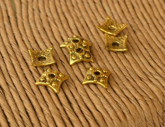 Для украшений ручной работы. Ярмарка Мастеров - ручная работа. Купить Шапочка для бусины 7,5мм ант.золото. Handmade.