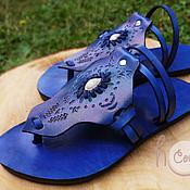 """Обувь ручной работы. Ярмарка Мастеров - ручная работа Темно-синие кожаные сандалии """"Blue Moroccan"""". Handmade."""
