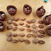 Мини фигурки и статуэтки ручной работы. Ярмарка Мастеров - ручная работа Мини фигурки и статуэтки: Пирожки,грибы, корзинка. Handmade.