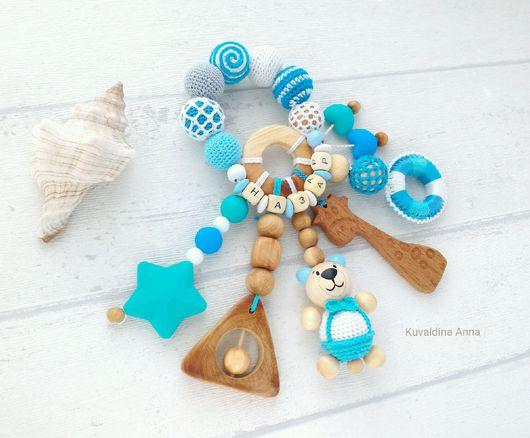 Развивающие игрушки ручной работы. Ярмарка Мастеров - ручная работа. Купить Именная игрушка-погремушка-развивашка-грызунок Мишка-морячок. Handmade.