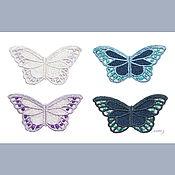 Материалы для творчества handmade. Livemaster - original item applique embroidery Butterfly large white openwork lace. Handmade.