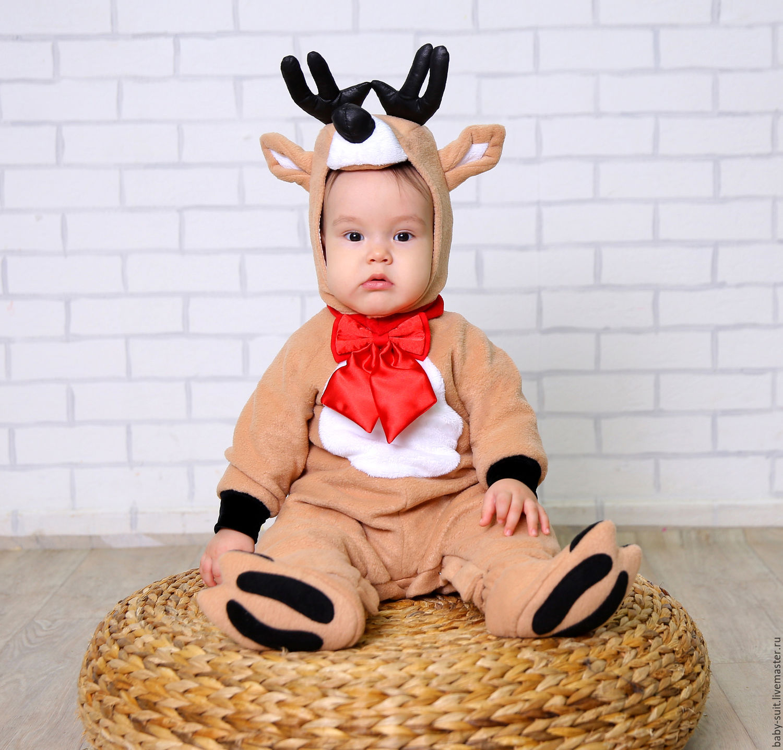 Карнавальный новогодний костюм Олененка Санты для малышей и детей ... b4fae0128231f