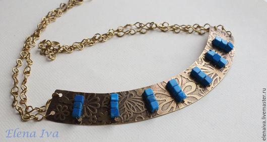 Колье, бусы ручной работы. Ярмарка Мастеров - ручная работа. Купить Колье из латуни с агатами синяя сказка. Handmade. Синий