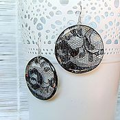 Украшения handmade. Livemaster - original item Transparent Earrings Round Earrings Black Lace Gothic Halloween. Handmade.
