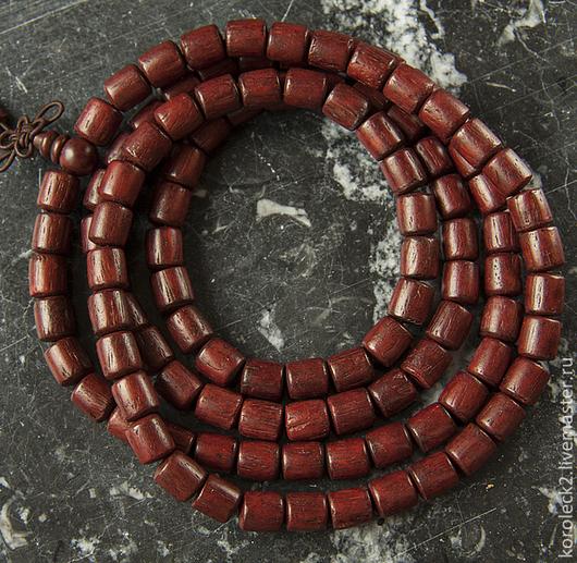 Для украшений ручной работы. Ярмарка Мастеров - ручная работа. Купить Тибетские бусины-цилиндры из красного сандалового дерева, 8мм. Handmade.
