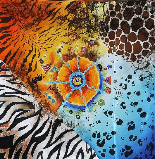 """Шали, палантины ручной работы. Ярмарка Мастеров - ручная работа. Купить Платок Батик """"Африка"""". Handmade. Батик платок"""