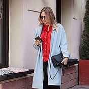 Одежда ручной работы. Ярмарка Мастеров - ручная работа Легкое пальто в голубую гусиную лапку art.158a. Handmade.
