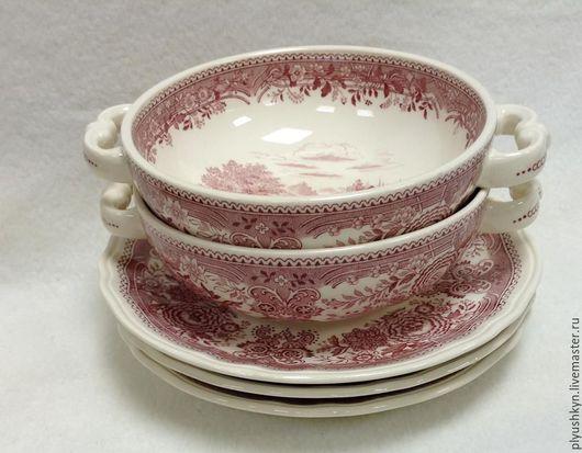 Винтажная посуда. Ярмарка Мастеров - ручная работа. Купить Бульонницы от Villeroy & Boch Бронь. Handmade. Бордовый, старинный стиль