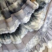 Одежда ручной работы. Ярмарка Мастеров - ручная работа Светло-серая  юбка в стиле бохо из шелка и батиста с росписью шибори,. Handmade.